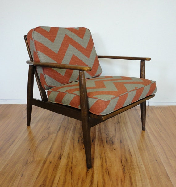 Reserved for kvrodgers- Mid Century Chevron Danish Lounge Chair Walnut