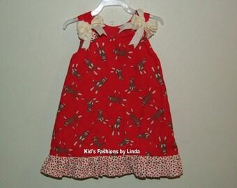 Ruffle Aline Dress with Sock Monkey fabric