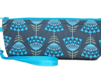 Zipper Pouch, Floral, Handmade, Black, Olive Green, Turquoise
