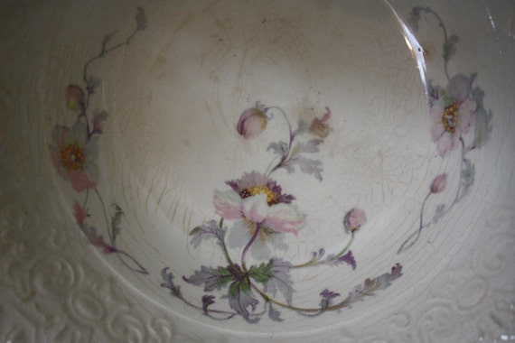 Vintage Cottage or Shabby Chic Serving or decorative Bowl with Pink and Purple Poppies