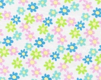 01217   Free Spirit David Walker Tea Party Flowers in White - 1 yard