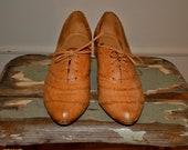 Vintage Honey Leather Woven Oxford Heel Shoes size 7