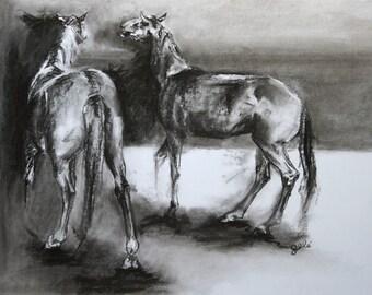 Original Black and white drawing Horses 1