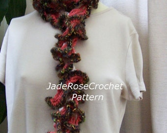 Crochet Scarf Pattern, Crochet Ruffled Scarf, Long Skinny Scarf Pattern, MultiColor Scarf Pattern, PDF214