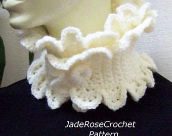 Crochet Scarf Pattern, Buttoned Scallop Ruffle Neckwarmer, Cowl PDF213