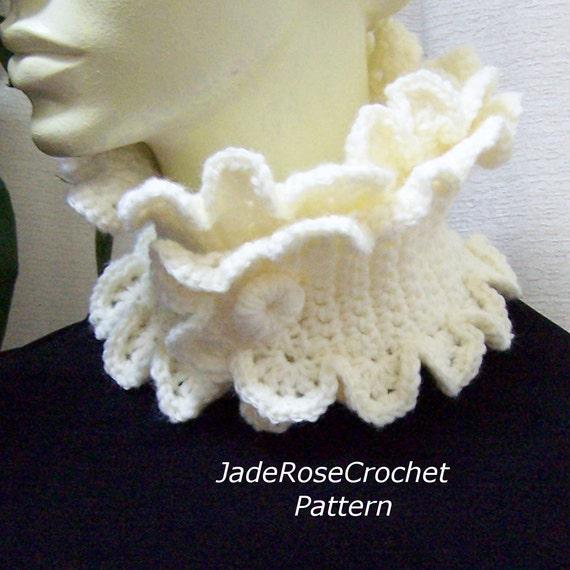 Crochet Scarf Pattern, Buttoned Scallop Ruffle Neckwarmer ...