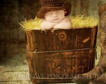 Infant Baby Toddler Boy Crochet BROWN n TAN Cowboy Hat n Boots Set -- Sizes: 3-6 mos or 6-12 mos -- Great Photo Prop