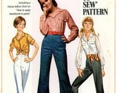 Vintage Sewing Pattern - 1968 Teen's Shirt and Bell-Bottom Pants, Simplicity 8009 Size 7,8 Bust 29