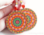 Gypsy kaleidoscope Colorful Round decoupage earrings ,  gift for her under 25 (A2)