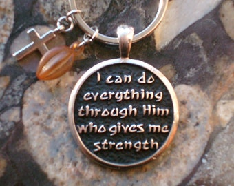 Christians Rock Religious Keychain Philippianes 4:13