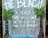 Wooden Signs, Wood Art, Wood Signs, Beach Art, Distressed Beach Wood Sign  with Palm Tree's