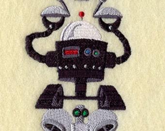 Robot Stack Embroidered Flour Sack Hand/Dish Towel