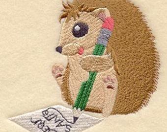 Mischief Making Hedgehog Embroidered Flour Sack Hand/Dish Towel