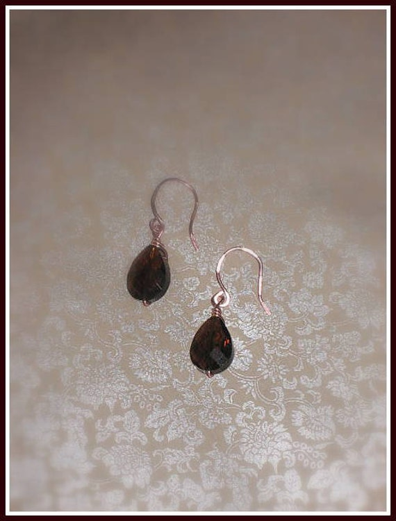 "Brown Crystal Briolettes, Rose Gold Wire Wrapped, 2""L"