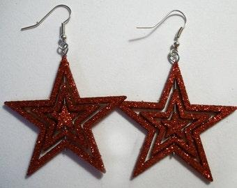 Christmas Red Glitter Stars