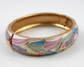 Vintage Enamel hinged Tulip Bangle bracelet pastel flowers