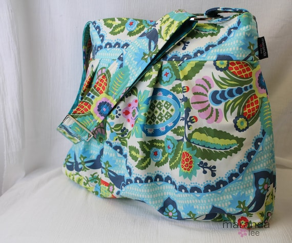 Emma Large Diaper Bag  Custom Messenger in Harriets Kitchen with Elastic Pockets READY to SHIP