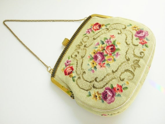 Vintage Needlepoint Rose Roses Purse, 60s