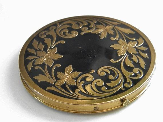 Large Vintage Art Nouveau Powder Mirror Compact, 50s