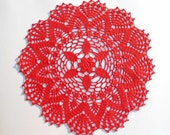 Crochet doily ,lace doilies ,crocheted centerpiece ,table decoration ,placemat ,red ,handmade ,home decor