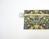 Boho Liberty of London purse with zip, black cream green brown bird coin purse - 'Strawberry thief'