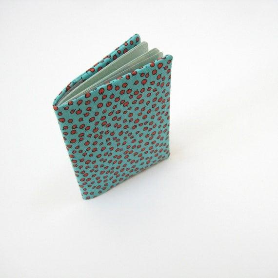 Travel gift idea, turquoise red fabric passport case, passport cover, cloth passport holder, handmade