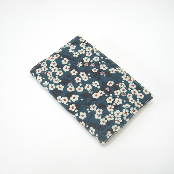 Navy blue Liberty print 2013 planner cover, pocket Moleskine notebook cover, Liberty of London 'Mitsi', Second 2nd anniversary gift idea