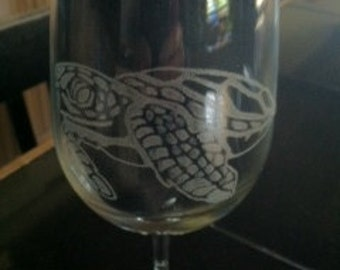 Sea Turtle Etched Glassware