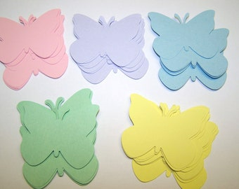 50 Pastel Large Paper Butterfly Punch Die cuts Cutout Confetti Embellishments Scrapbooking