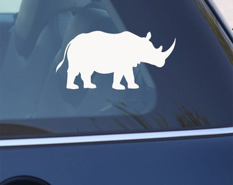 Rhino  Decal - Rhinoceros  Sticker  - for Car, Laptop, BLACK or WHITE