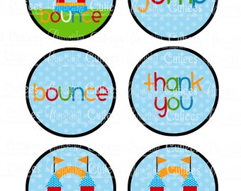 Bounce House Boys  Large Round Tags N Toppers U PRINT