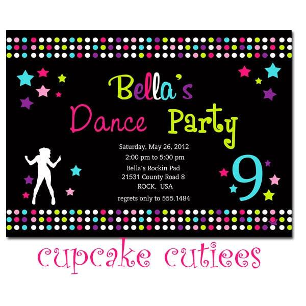 Dance Party Full Invite Digital Custom Invitation Card