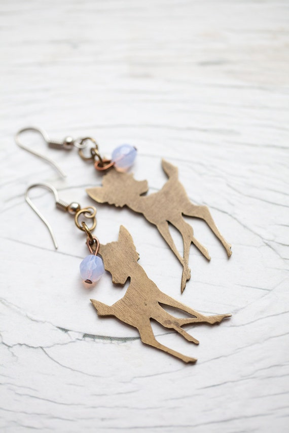 Bambi earrings . Recycled . Light lilac beads . Cute . Gift . ONLY 1 PAIR