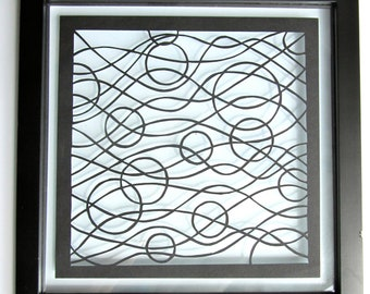 Waves and Circles Silhouette Papercut Abstract in Black Wall Art Décor ORIGINAL Design SIGNED Handcut Handmade FRAMED FATHERs Day Gift OOaK