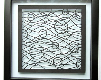 Waves and Circles Wall Art Home Décor Black Silhouette Paper Cut ORIGINAL Design SIGNeD Handcut Handmade FRAMeD One Of A Kind