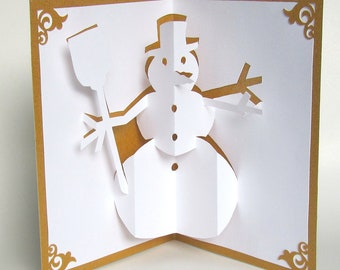 SNOWMAN 3D Pop Up Greeting Card Home Décor Handmade Cut by Hand Origamic Architecture in White and Metallic Shimmery GOLD.