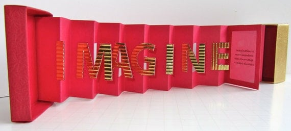 IMAGINE INSPIRATION Card in a Box With a QUOTE Original Design in Red and Gold Accordion Miniature Book-Card Handmade Personalized OoAK