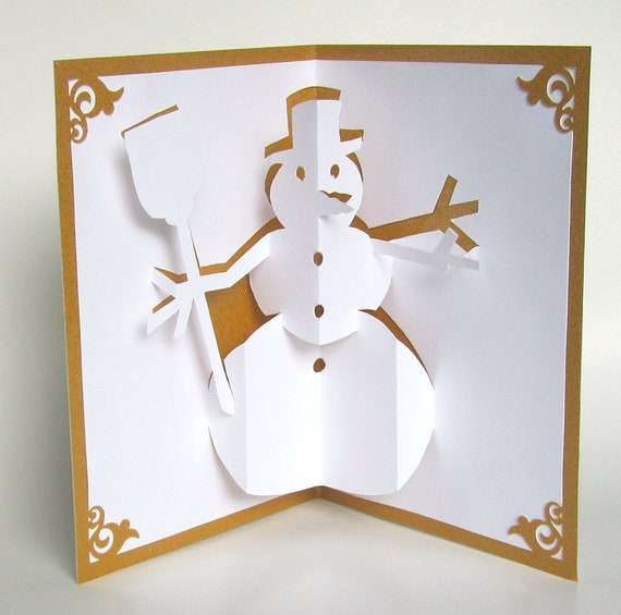 Snowman 3d pop up greeting card home d cor handmade cut by for 3d christmas cards to make at home