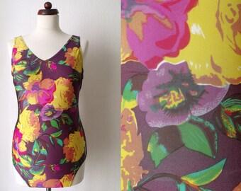 Vintage Swimsuit - Purple 1980's Bathing Suit with Flowers - Size L One Piece