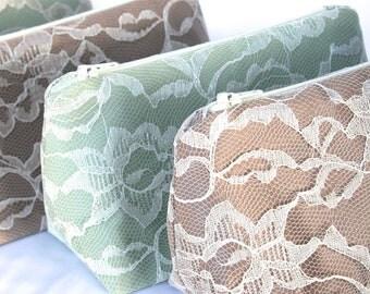 Six Bridesmaid Gifts: Lace Cosmetic Bags, Bulk Order Pricing, Custom Wedding Colors, Wedding Favor, Clutch, Makeup Bags Bulk