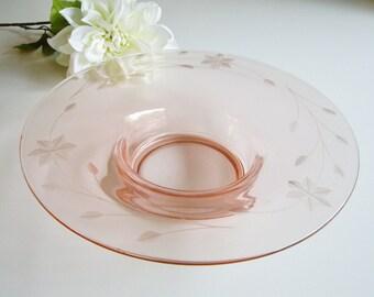 Vintage Pink Glass Bowl, Console Bowl, Wheel Cut, 6 petal, For Flower Arranging