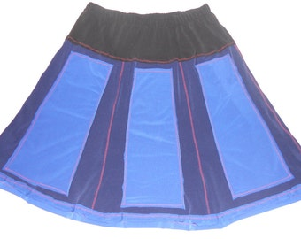 Color block panel jersy skirt. Black, navy and royal blue panel skirt -Size M jersey skirt, ready to ship