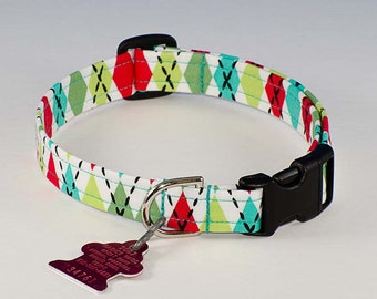 Merry Christmas Harlequin - Dog Collar - Adjustable