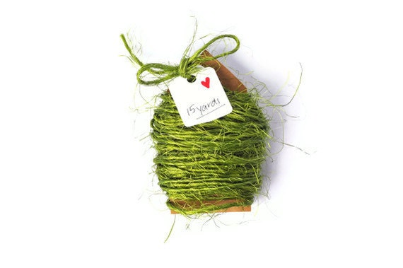 Olive green string .  rough sisal cord 2mm thin . Spring apple green . 15 yards rope . twine . natural . supplies . other colors available