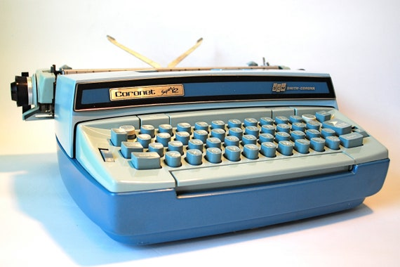 Smith Corona Coronet Super 12 Typewriter Two Tone Blue