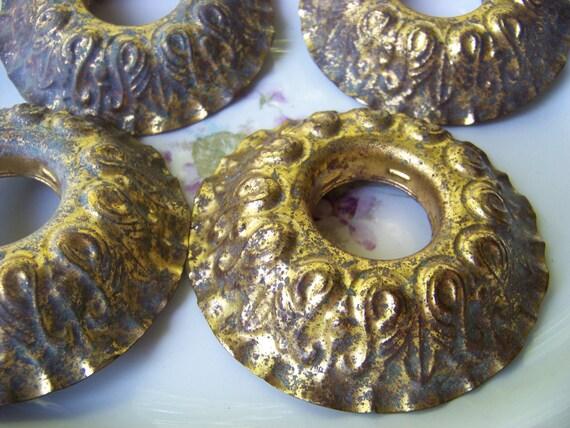Set Of 4 Vintage Chandelier Collars / Gold Metal Lighting Hardware / Faded Gold Metal