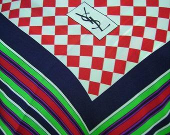 YSL Yves Saint Laurent Checkerboard Silk Scarf