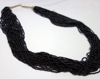 Black ONYX Beads Multi-Strand Long Necklace