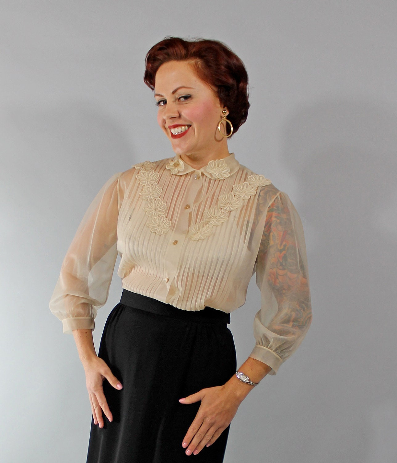1950s Vintage Blouse Spring Fashion Sheer By Simplyvintageco