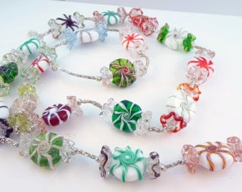 Lampwork Bead Holiday Candy Garland - ORDER YOURS NOW!!